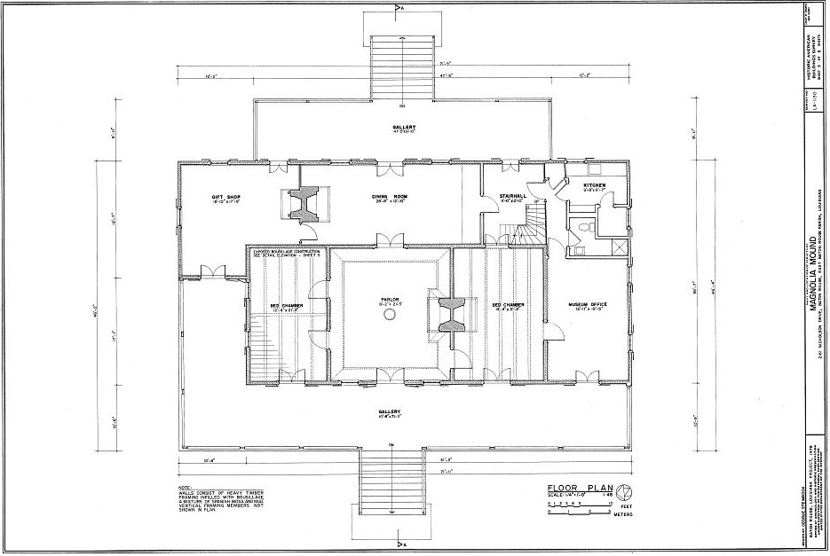 Floor plans magnolia mound plantation baton rouge louisiana for House plans in baton rouge