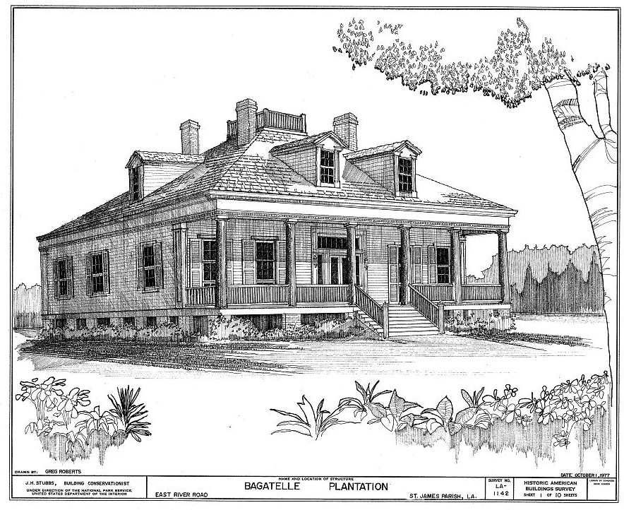 Floor plans and elevations bagatelle plantation house Louisiana plantation house plans
