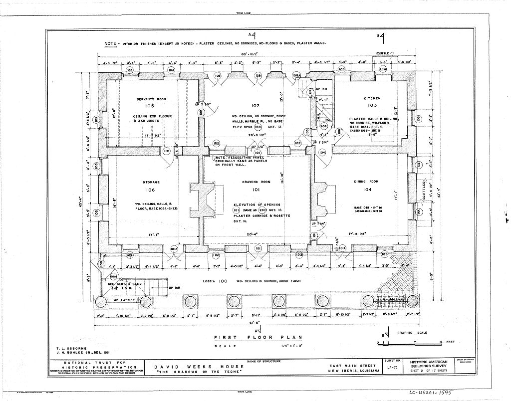 Floor plans the shadows plantation weeks halls house for Plantation floor plan