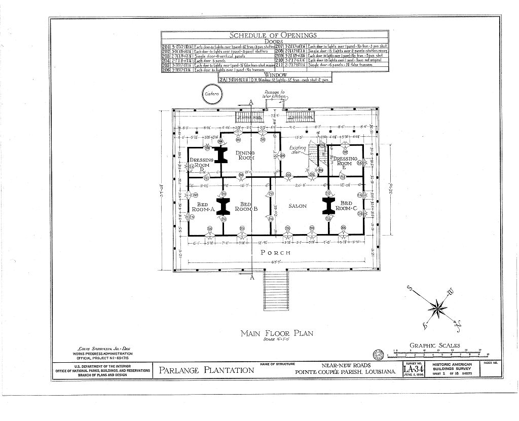Floor plans parlange plantation house new roads louisiana for Plantation floor plan