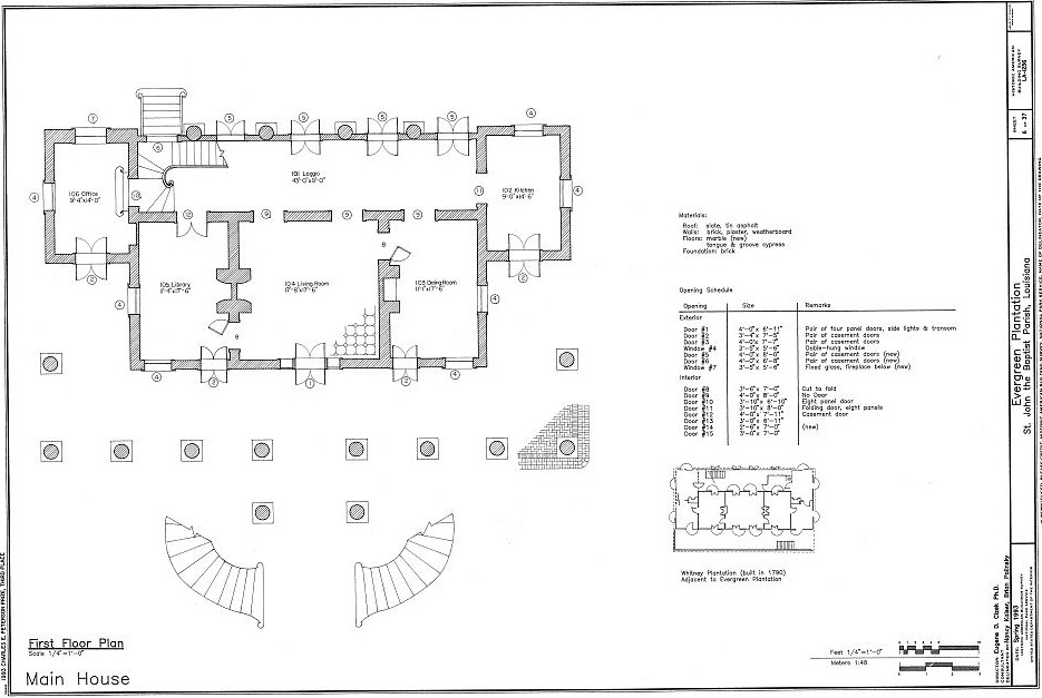 Floor plans evergreen plantation wallace st john the for Home plans louisiana