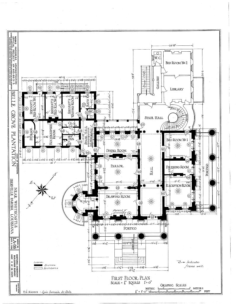 Floor plans belle grove plantation mansion white castle for Historical home plans