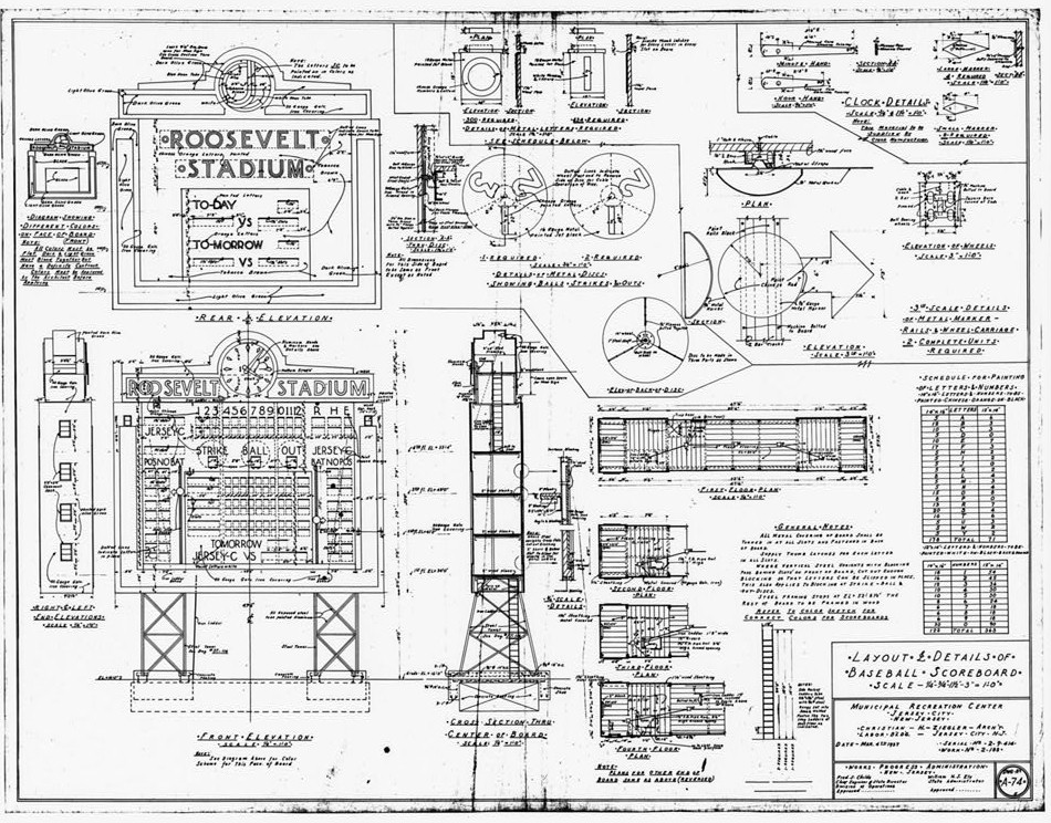 Blueprints and plans 7 roosevelt stadium jersey city new jersey layout and details of baseball scoreboard malvernweather Gallery
