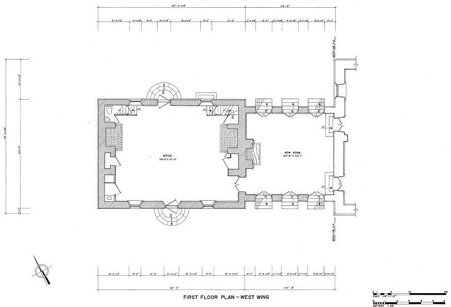 Carters Grove Mansion, Williamsburg Virginia West Wing First Floor Plan