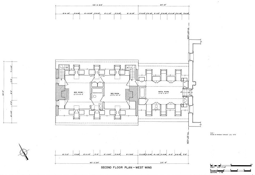 Carters Grove Mansion, Williamsburg Virginia West Wing Second Floor Plan